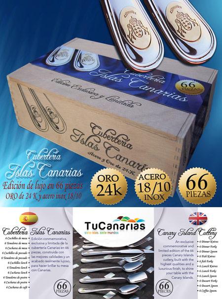 Cubertería Islas Canarias De Luxe con 66 cubiertos en Acero y Oro