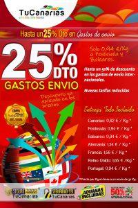 25% ahorro en gastos de envio en TuCanarias.com