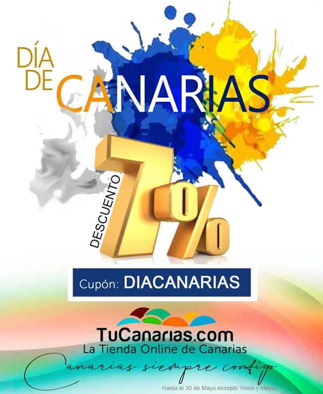 Dia de Canarias en TuCanarias.com la tienda online de Canarias con un 7% extra de Descuento con el Cupón DIACANARIAS